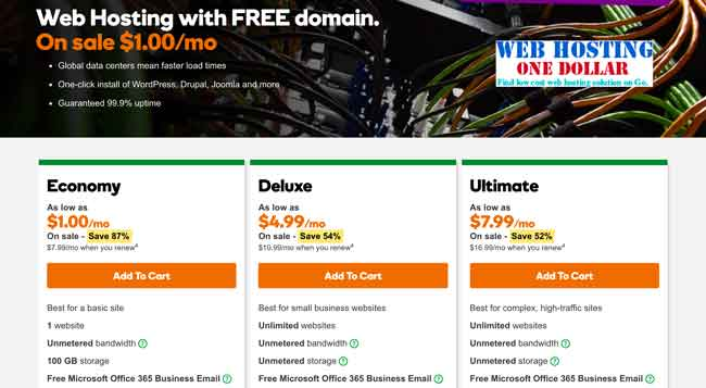 Godaddy One Dollar Web Hosting service