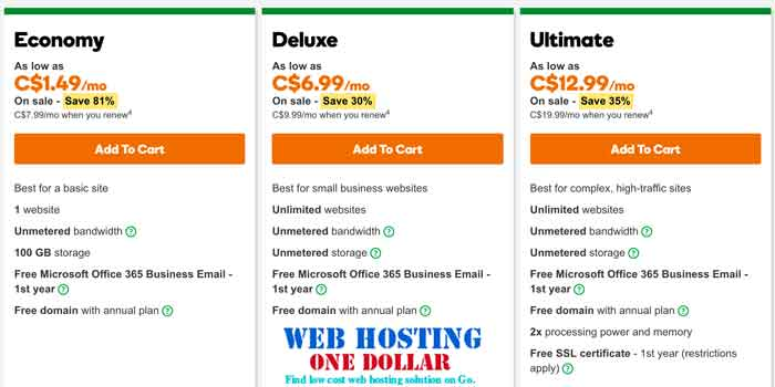 C$1.49 Web Hosting Canada for just One Dollar only