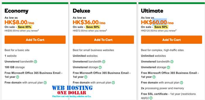 8HKD Web Hosting Godaddy Hong Kong