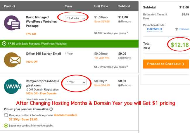 Dollar One Godaddy wordpress hosting
