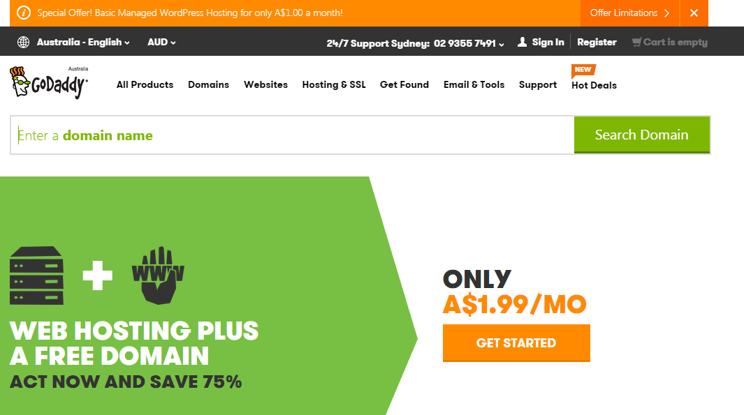 GoDaddy A$1.99 web Hosting