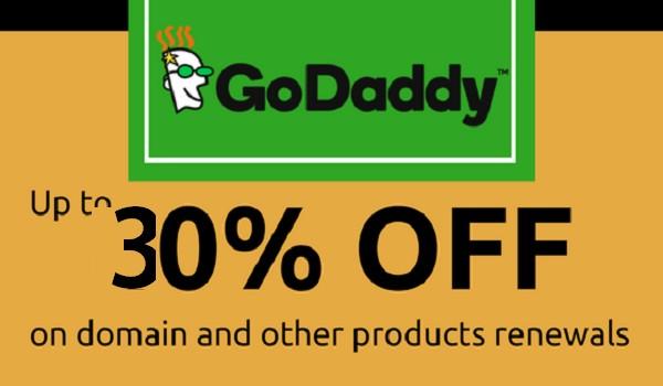 Godaddy 30% OFF Domain renewal code