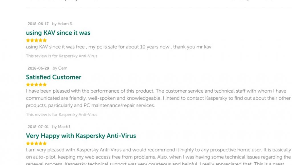 kaspersky antivirus customer review