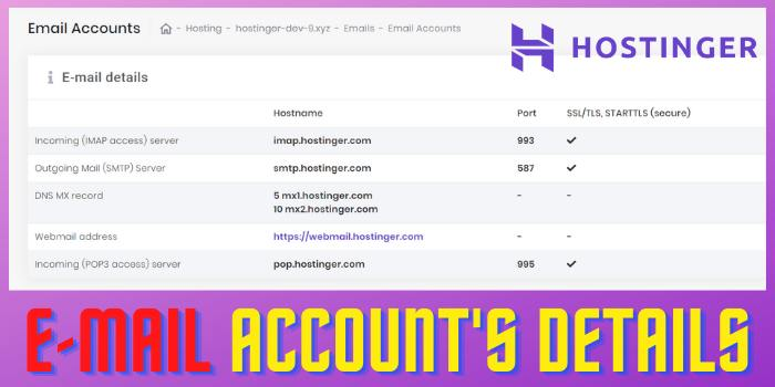 E-mail Account's Details