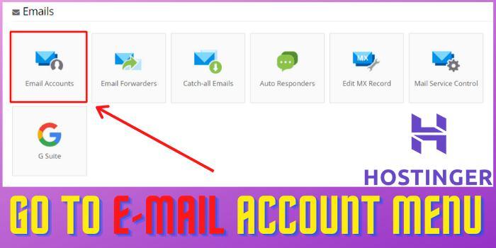 Go to E-mail Account Menu