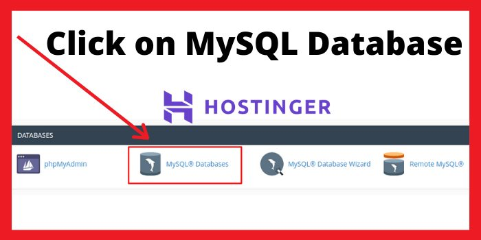 click on MySQL Databases