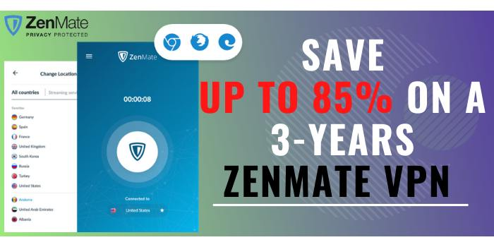 Save Up to 85% on a 3-years ZenMate VPN through Cyber Monday Sale
