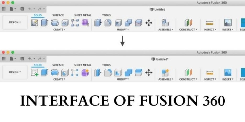 Interface of Fusion 360