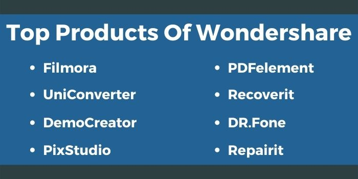 Top products of Wondershare