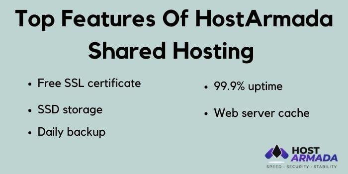 Hostarmada shared hosting features